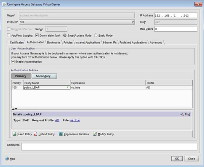 How to configure Citrix Netscaler Access Gateway VPX